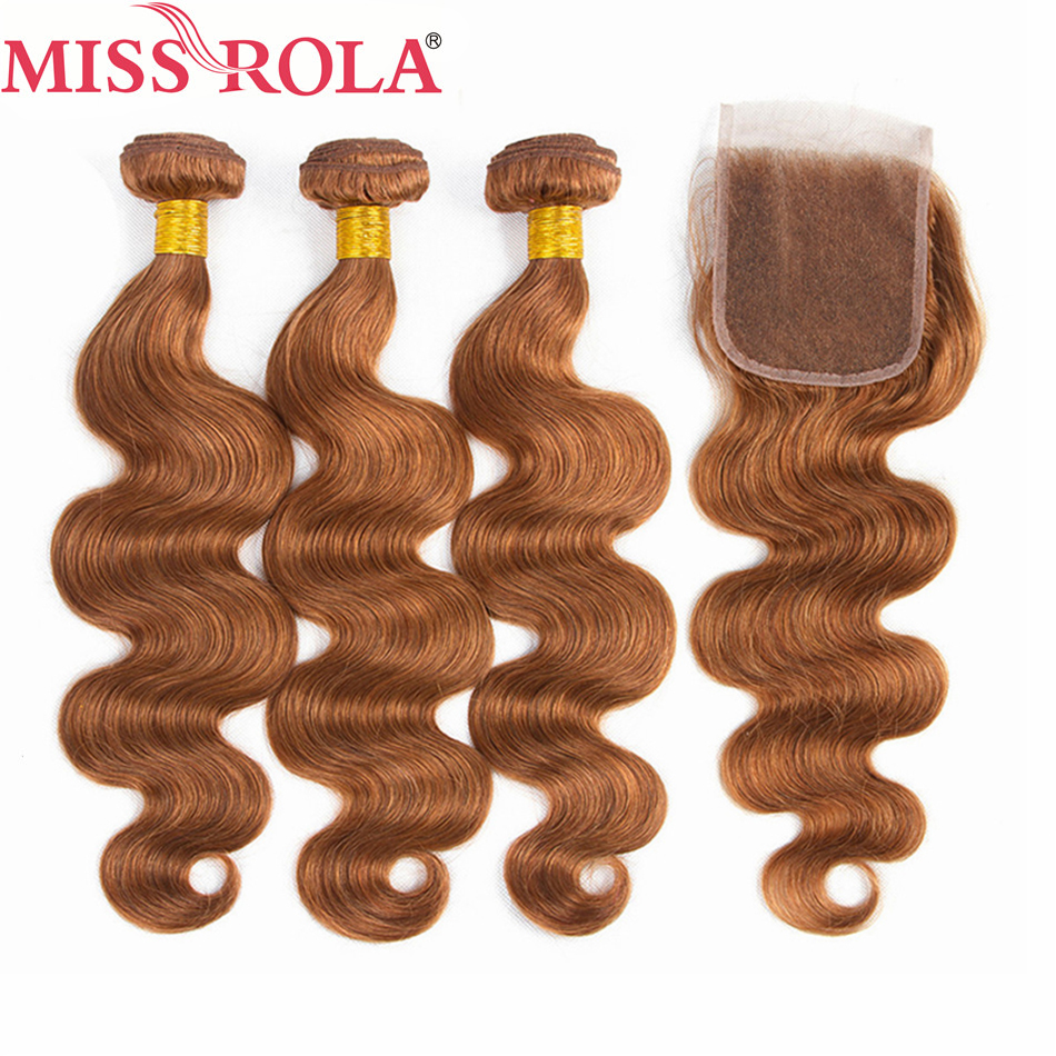 Miss Rola Hair Brazilian Body Wave 100% Human Hair Weaving 3 Bundles With 4*4 Closure #30 Color Ombre Bundles With Closure