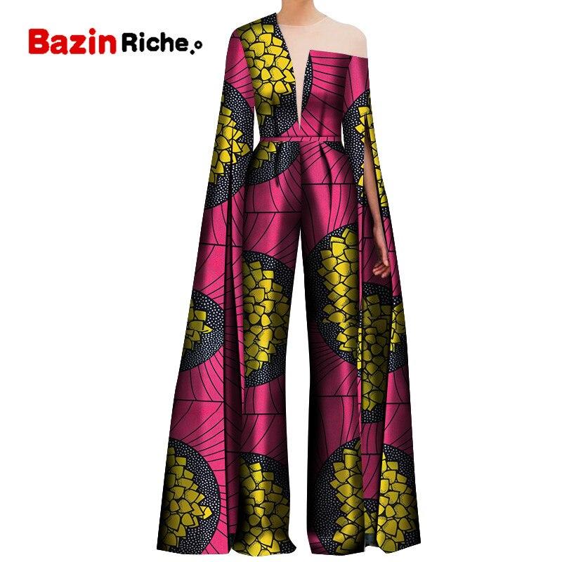 2020 African Print Women Pant Set One Shoulder Super Long Sleeve Romper Wide Leg Pants African Ladies Jumpsuits Rompers WY5082