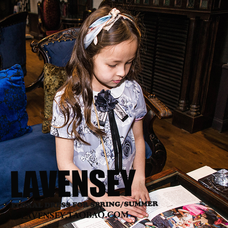 ФОТО Lavensey Fashion Flower Girl Dress Deep Blue Corsage Party Pageant Unique Design Kids Clothing Summer Princess 1-12 YRS