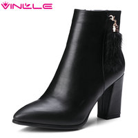 VINLLE 2018 Women Shoes Sexy Ankle Boots Square High Heel PU Leather Scrub Black Ladies Motorcycle