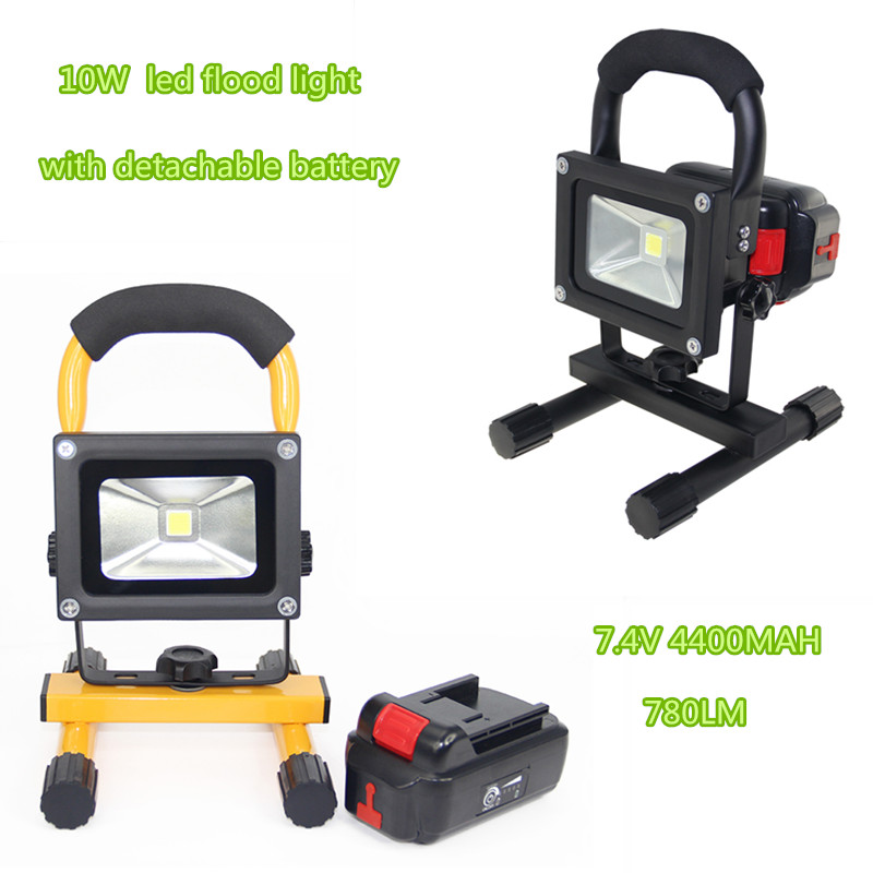 10W Rechargeable LED Floodlight Portable Spotlight Outdoor Flood lamp camping work light with Charger detachable battery F024 portable outdoor 18v 30w portable smart solar power panel car rv boat battery bank charger universal w clip outdoor tool camping