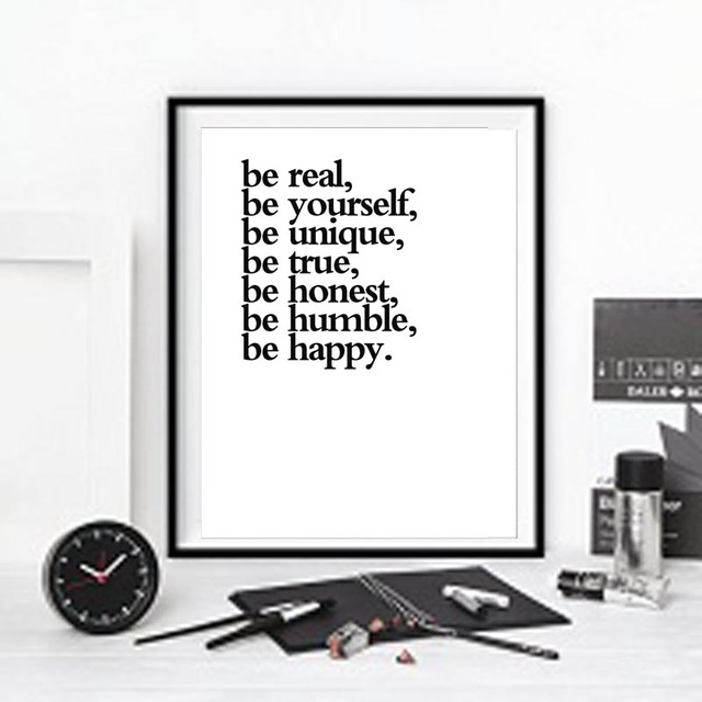 Us 1 42 41 Off Be Yourself Inspirational Quotes Canvas Print Wall Painting Picture For Home Office Decor Frame Not Include In Painting Calligraphy