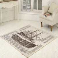Retro Retro Wind Newspaper Boat Carpet Retro Lobby Carpet Carpet Carpet Fashion Nostalgia Pad