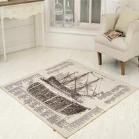 Retro Retro Wind Newspaper Boat Carpet Retro Lobby Carpet Carpet Carpet Fashion Nostalgia Pad