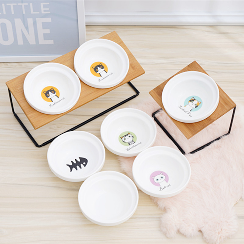 Cute Cat Bowl High-end Pet Bowl Bamboo Shelf Ceramic Feeding And Drinking Bowls For Dogs And Cats Pet Feeder Dog Double Bowls