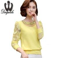 Femme Plus Size Lace Blouse Chiffon Shirt Women Tops Long Sleeve Women Blouses Blusas Camisas Femininas