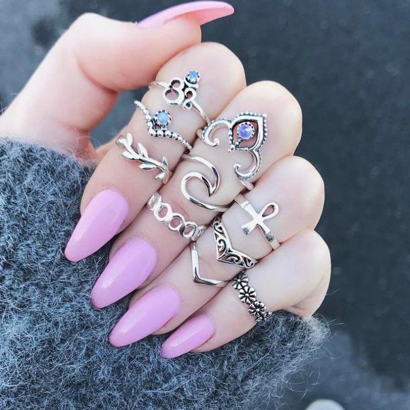 10 шт./Партия набор украшений в стиле бохо, антикварное кольцо с кристаллами, набор обручальных колец в стиле стимпанк Anillos Anel, кольца для женщ...