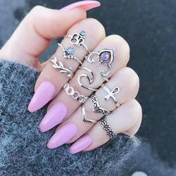 10 Pcs/set Stacked Boho Jewelry Antique Crystal Ring Set Knuckle Wedding Ring Set Steampunk Anillos Anel Rings For Women