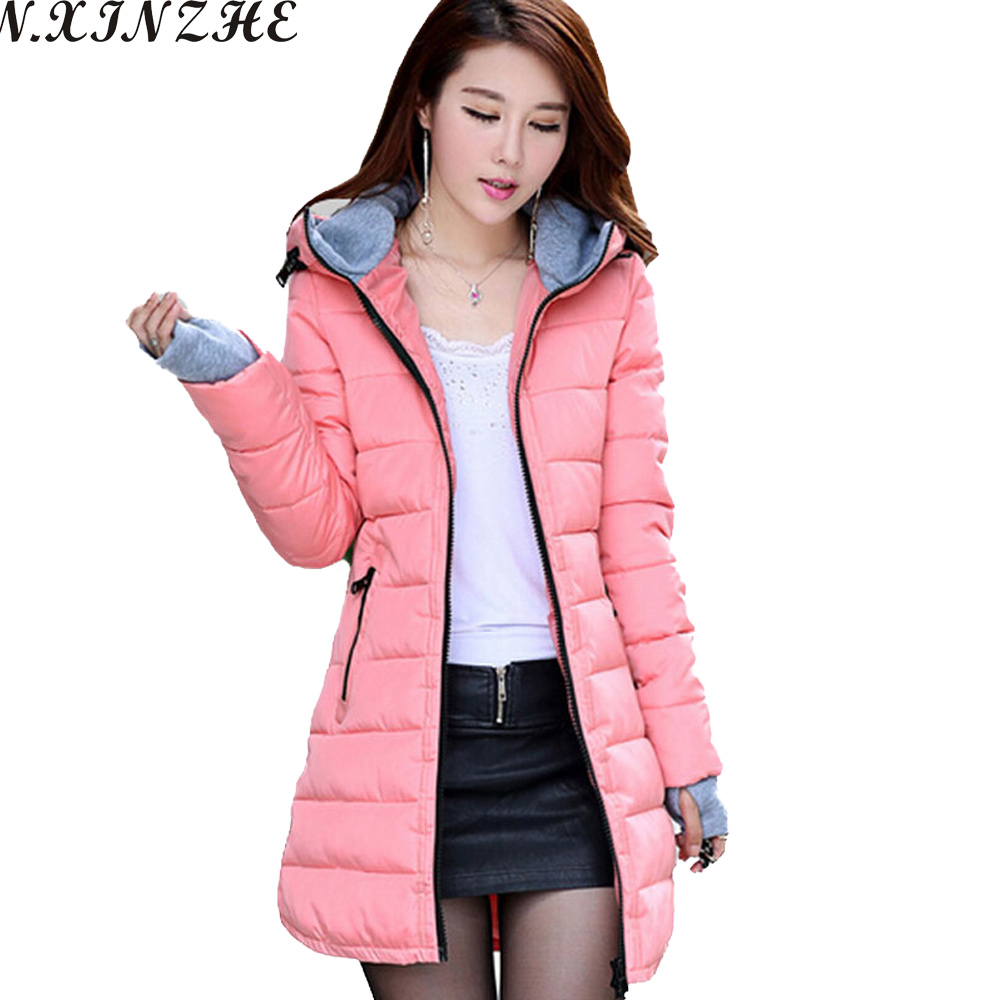N.XINZHE 2017 Winter jacket women Coat Hooded Slim Wadded Parkas Wear Winter Coats Outwear for Lady chaqueta mujer