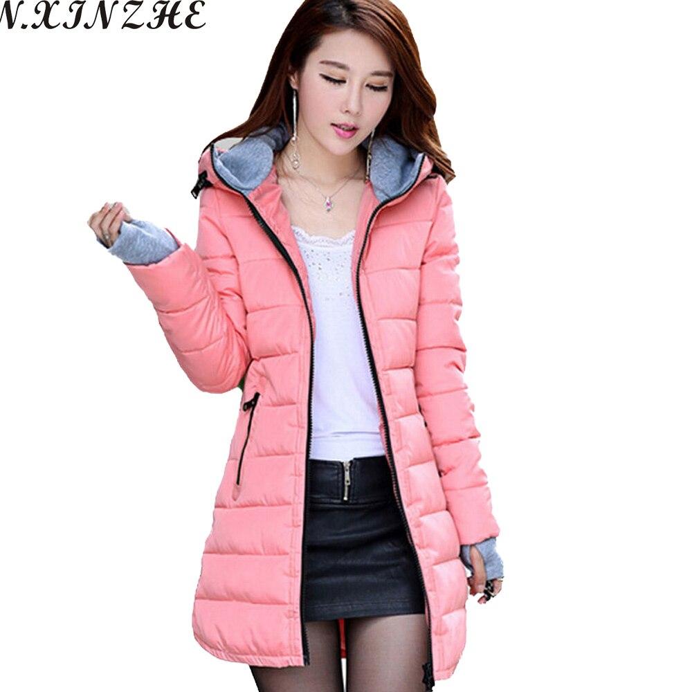 LZMZA 2017 Winter jacket women Coat Hooded Slim Wadded   Parkas   Wear Winter Coats Outwear for Lady chaqueta mujer