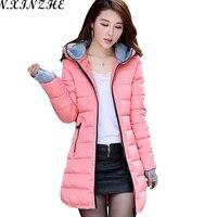 N XINZHE 2017 Winter Jacket Women Coat Hooded Slim Wadded Parkas Wear Winter Coats Outwear For