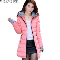 N XINZHE 2017 Winter Jacket Women Coat Hooded Slim Wadded Parkas Wear Winter Coats Outwear For