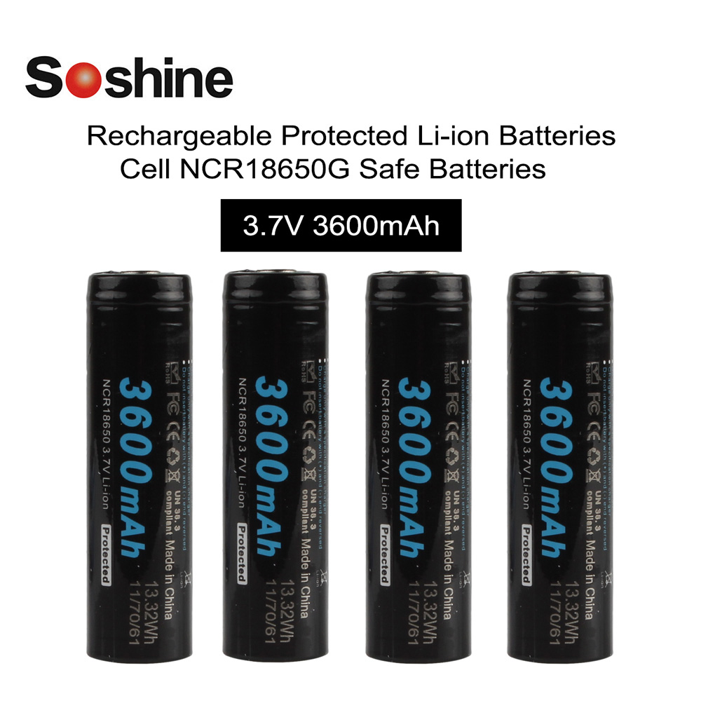 4pcs Soshine 18650 3.7v 3600mAh Li-ion Rechargeable Battery with Sanyo Cell and Protected PCB for LED Flashlights Headlamps 2pcs set soshine 3100mah 18650 3 7v li ion lithium rechargeable battery with protected pcb battery case