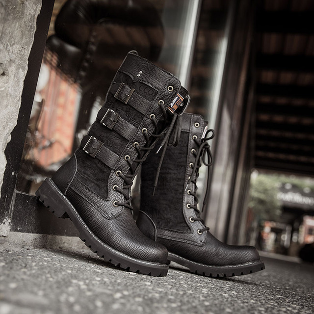 Round - headed high-heeled boots leather boots men's boots Motorcycle boots