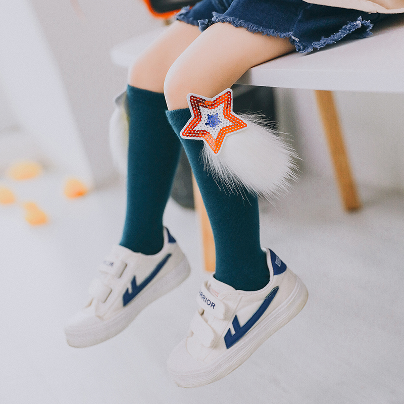 Brand New Spring Summer Baby kids Cotton Knee High Socks for children Toddle Double Needle Short Socks Girls with cute patch nfl fan merchandise socks new england patriots team logo leopard print knee high socks brand new