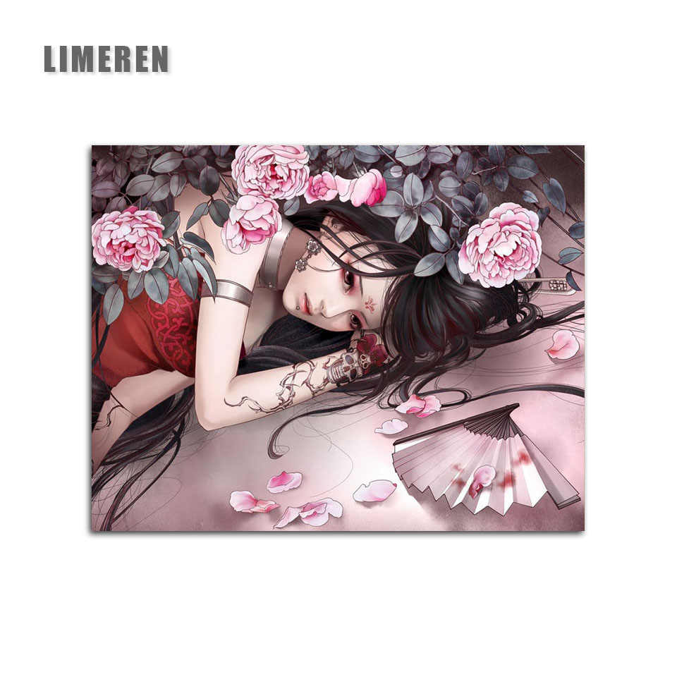 Vintage Beauty Lady Chrysanthemum Flowers Wall Poster DIY Digital Painting By Numbers Kits Oil Painting Acrylic Draw Home Decor