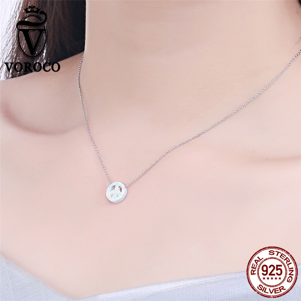 Aliexpress buy voroco 2017 genuine 925 sterling silver aliexpress buy voroco 2017 genuine 925 sterling silver platium plated peace symbols opal pendantsnecklace for women wedding gift vsn005 from reliable buycottarizona