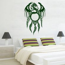 Chinese Dragon Patterned Art Dream Catcher Wall Stickers Home Special Amulet Decorative American Style Decals Mural W-516