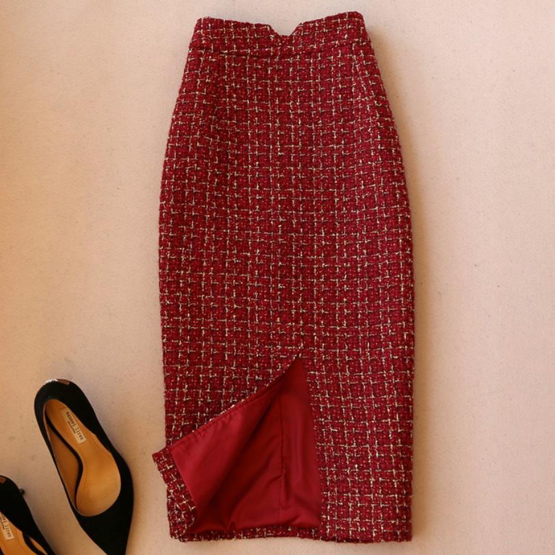 New Arrival Tweed Woolen Skirt Women High Waist Office Lady Split Pencil Skirt