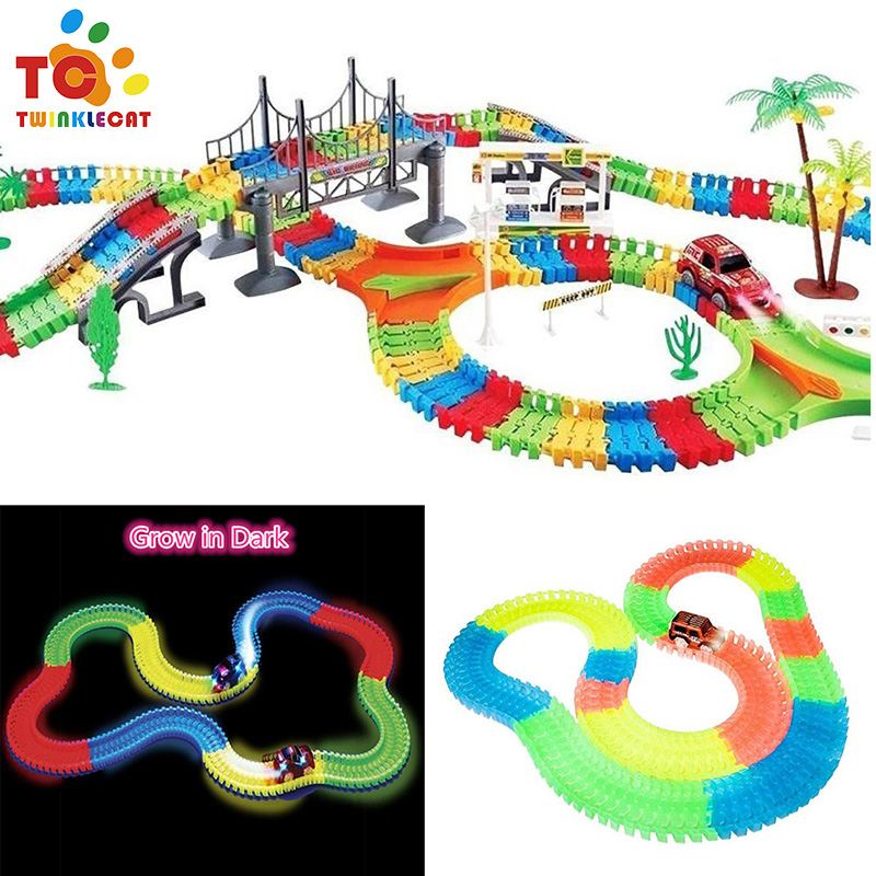 360pcs Miraculous Glowing Race Track Bend Flex Flash In The Dark Assembly Car Toy Glow Racing Track Box Set Christmas diy puzzle kid colorful plastic race track led car children assembly toy bend flex glow rails racing roller coaster toys