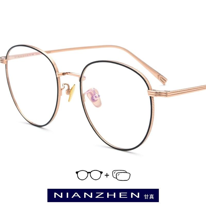 Pure Titanium Prescription Glasses Frame Men Retro Round Myopia Optical Eyeglasses Frames Women Vintage Rose Gold Oval Eyewear