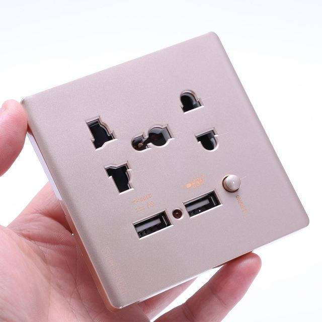 Funn Wall Electrical 10a Universal Plug Faceplate Socket Double 2