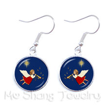2018 New Christmas Angel Series Picture Glass Cabochon Long Earrings For Women Fashion Jewelry Christmas Gift for her(China)