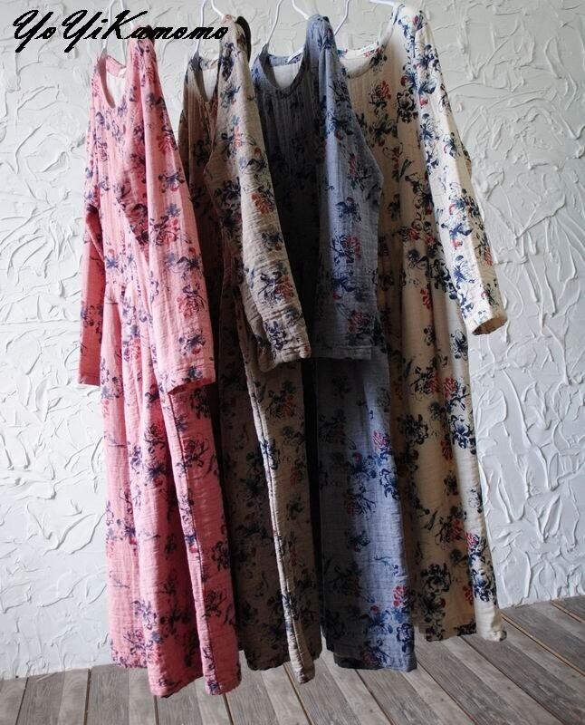 Yoyikamomo 2017女性の綿リネンドレスオリジナル花綿ロングドレスヴィンテージロングスリーブ緩い大きなサイズドレス女性  グループ上の レディース衣服 からの ドレス の中 3
