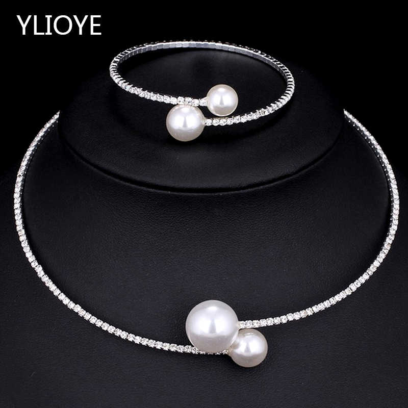 YLIOYE Fashion Simple Simulated Pearl Bridal Sets Crystal Wedding Jewelry Necklace Bangle Set for Women Wedding Party Jewelry
