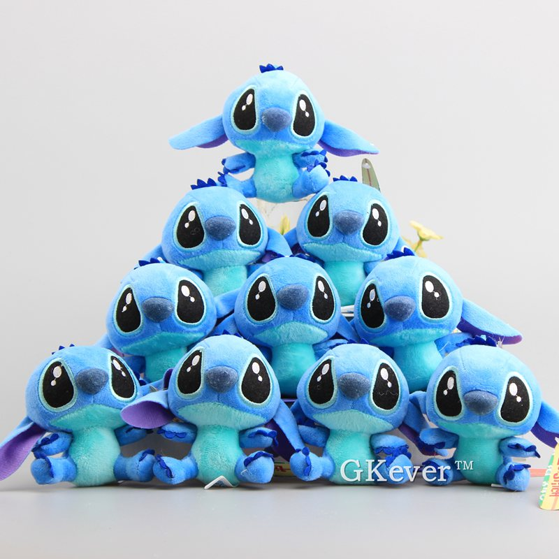 "Cute Cartoon Lilo and Stitch 4"" 10CM Kawaii Plush Keychain 10 pcs/Lot Stuffed Animals 2"