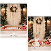 Merry Christmas Vinyl Photography Background For Children Wood Door New Fabric Flannel Backdrop For Baby photo studioS2105