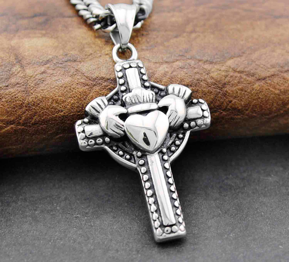 Celtic Claddagh Friendship Loyalty Love Cross Stainless Steel Pendant Necklace