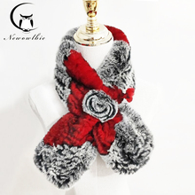 New Style Real Natural Rex Rabbit Fur Scarf Women Knitted Ring Hot Scarves Shawl