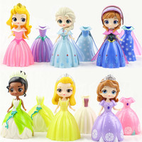 6pcs/set Princess dressing Alice Snow Queen Bell Cinderella Changed into Princess Toy Dolls Princess Anime Action Figures