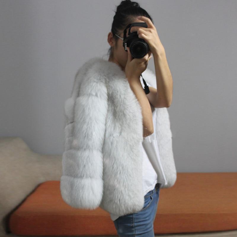 Chaud Naturel Vêtement Toute Fox Hiver En Reroyfu Grande Blanc Vestes Survêtement Véritable Réel Femmes Manteaux noir gris Fourrure Pour Taille De vert EqTtdvatn