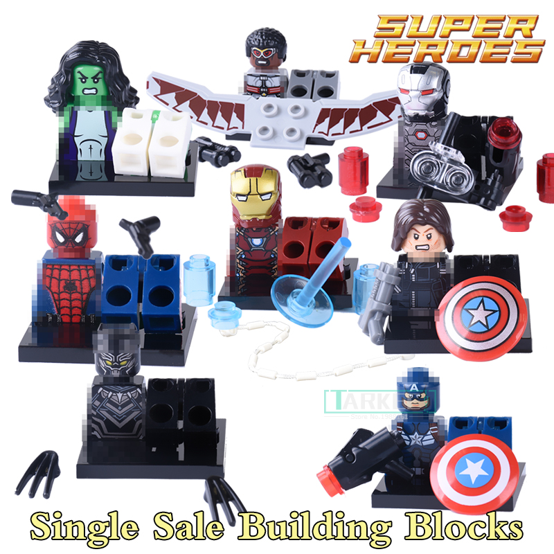 Single Sale Marvel Super Hero Iron Man Captian America Civil War Black Panther Building Block diy figures Bricks Children Gift victorian america and the civil war