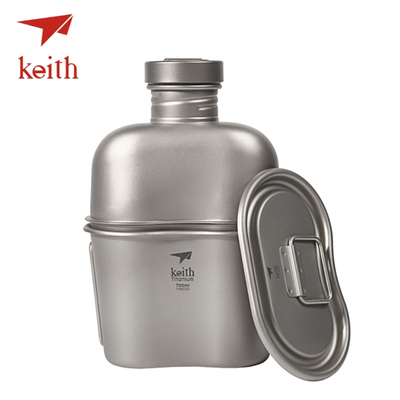 Keith Titanium 2 In 1 Outdoor Sports Kettle Set Water Bottle Lunch Box Camping Travel Cookware Tableware Utensils 1100ML 700ML cute hamburger lunch box with utensils set