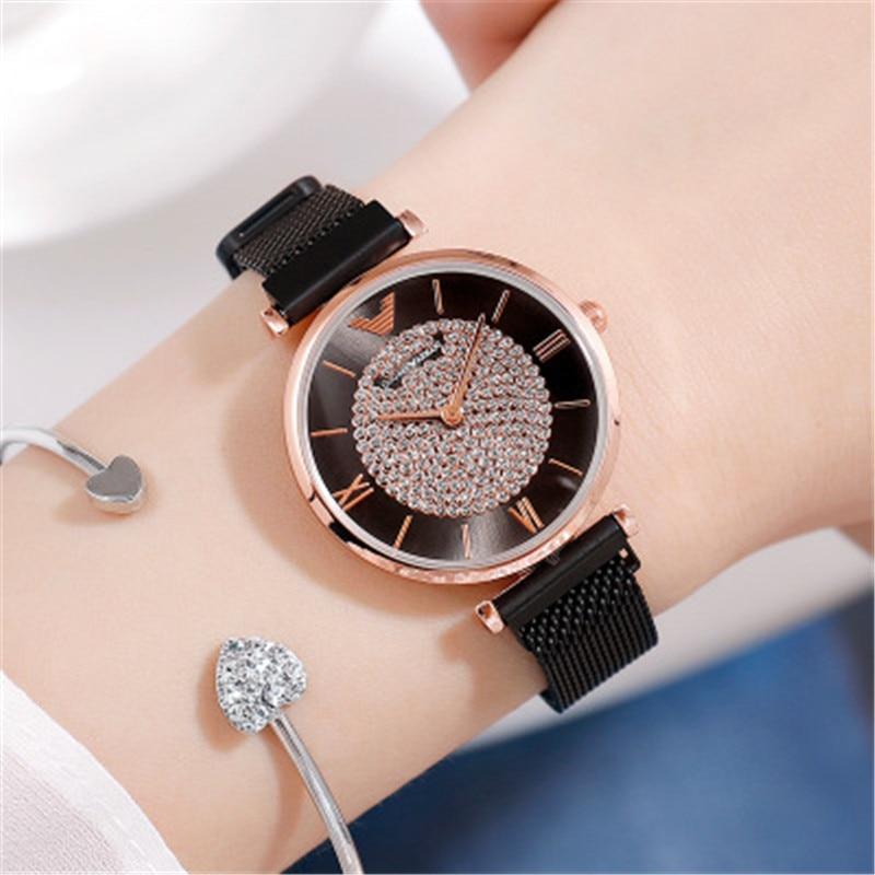 Luxury Brand Women Watches Starry Sky Magnetic Female Wristwatch Waterproof Rhinestone Clock relogio feminino Montre femme 2019