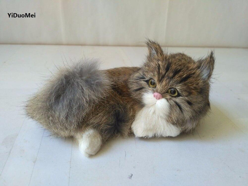 new simulation dark khaki lying cat model,plastic&furs sounds miaow cat handicraft about 15x9cm 1470