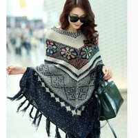 2017 Pull Pullover Cardigan Womens Capes And Ponchoes Winter Cape With Tassel Women's Sweater Fashion Vintage Bohemian