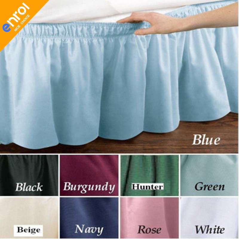 "Beige Queen\King Size Elastic Bed Wrap Ruffle Bed Skirt Around Bed 14/"" Drop New"