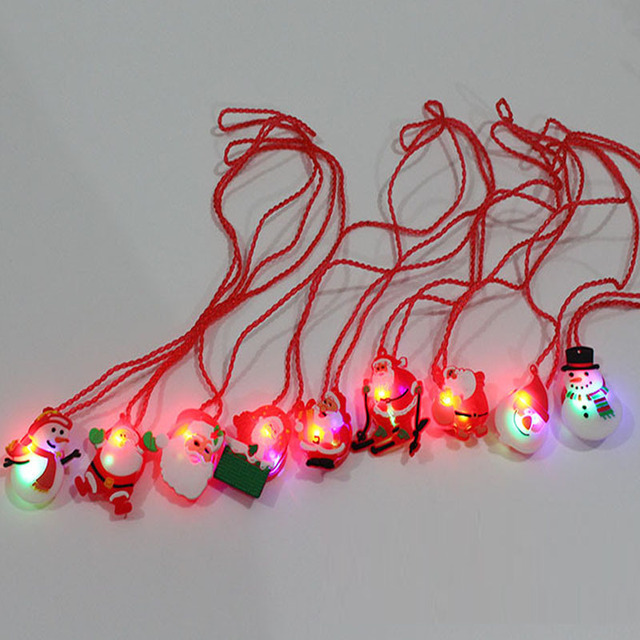 new led light up flashing blinking necklace pendants xmas favor gift glow party supplies christmas halloween