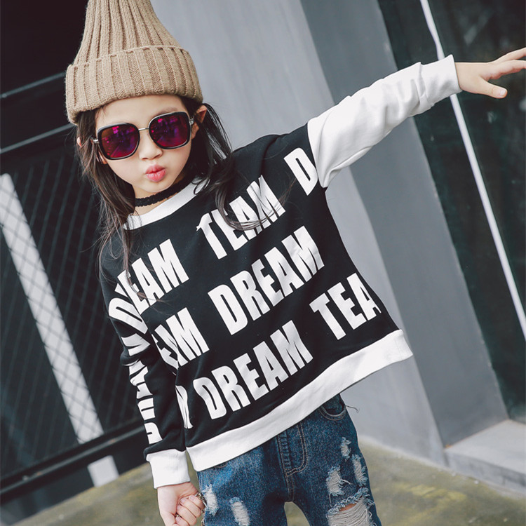 fashion girls new brand striped girls shirt autumn outfit shirt for children kids long sleeve clothes letter printed pullover