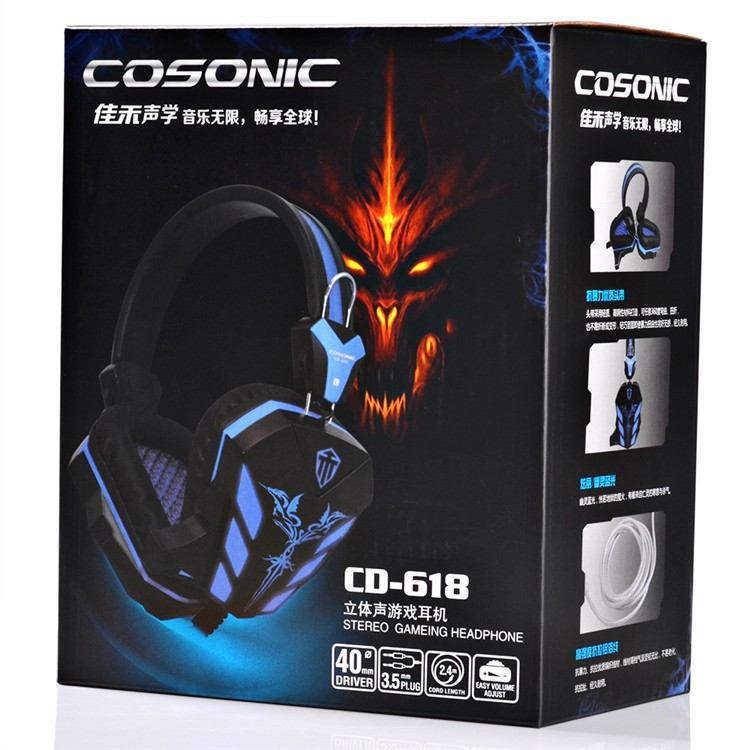 Cosonic CD-618 40mm Driver Unit Two-channel Stereo Gaming Headset Headphones with Volumn Control Mic LED Light for PC Computer (17)
