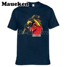 Camiseta de manga corta de algodón con cuello redondo para hombres de Chicago Blackhawks Fans 100% W19031511