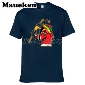 Image 1 - Camiseta de manga corta de algodón con cuello redondo para hombres de Chicago Blackhawks Fans 100% W19031511