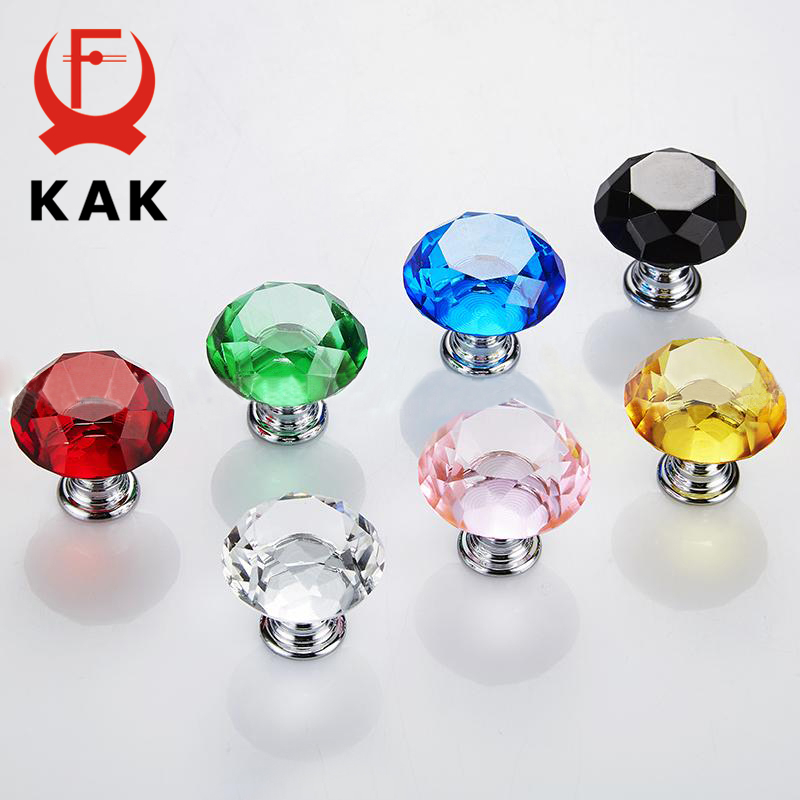 KAK Cabinet Handles Diamond Shape Crystal Glass Knobs 30mm 40mm Cupboard Pulls Drawer Knobs Kitchen Furniture Handle Hardware in Cabinet Pulls from Home Improvement
