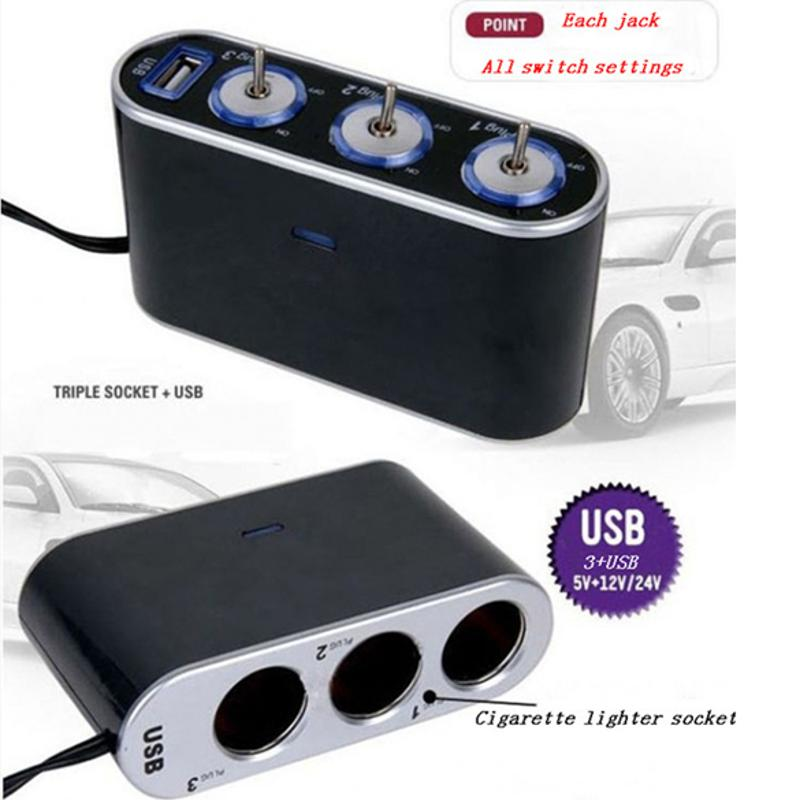 High Quality Universal USB 3 Way <font><b>Car</b></font> Cigarette Lighter Socket Splitter DC <font><b>12V</b></font> + LED Light Switch <font><b>Power</b></font> <font><b>Adapter</b></font> Hot selling image