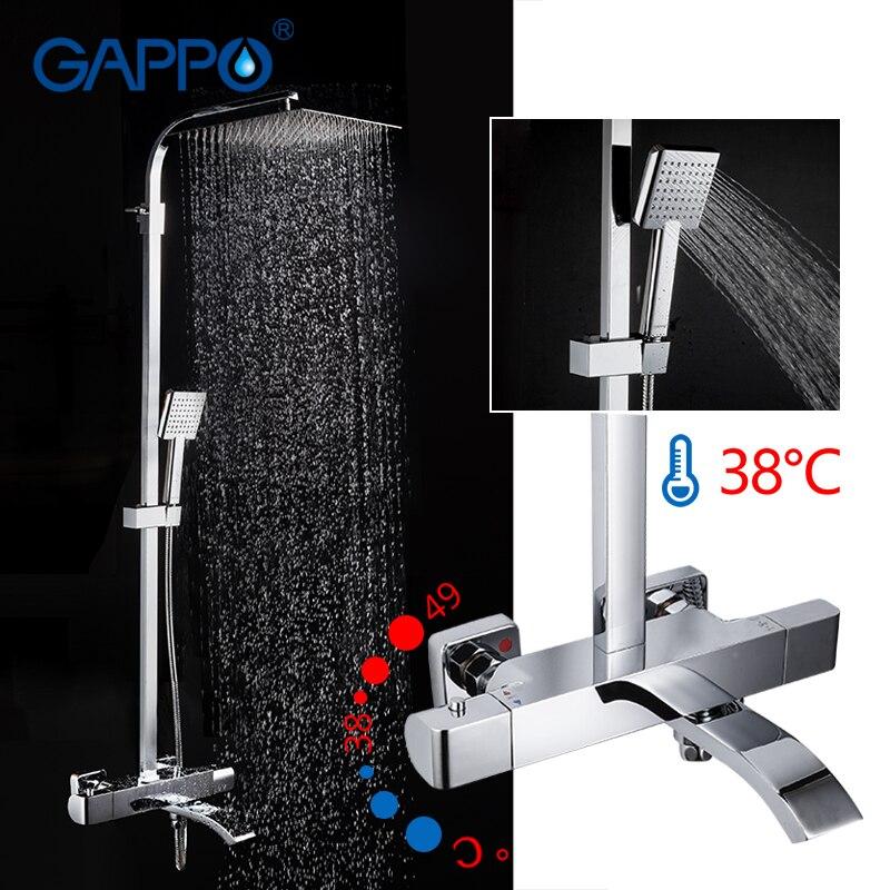 GAPPO chuveiro Torneiras termostática misturador do chuveiro do banheiro torneira da banheira mixer wall mounted chuveiro rainfall mixer torneiras
