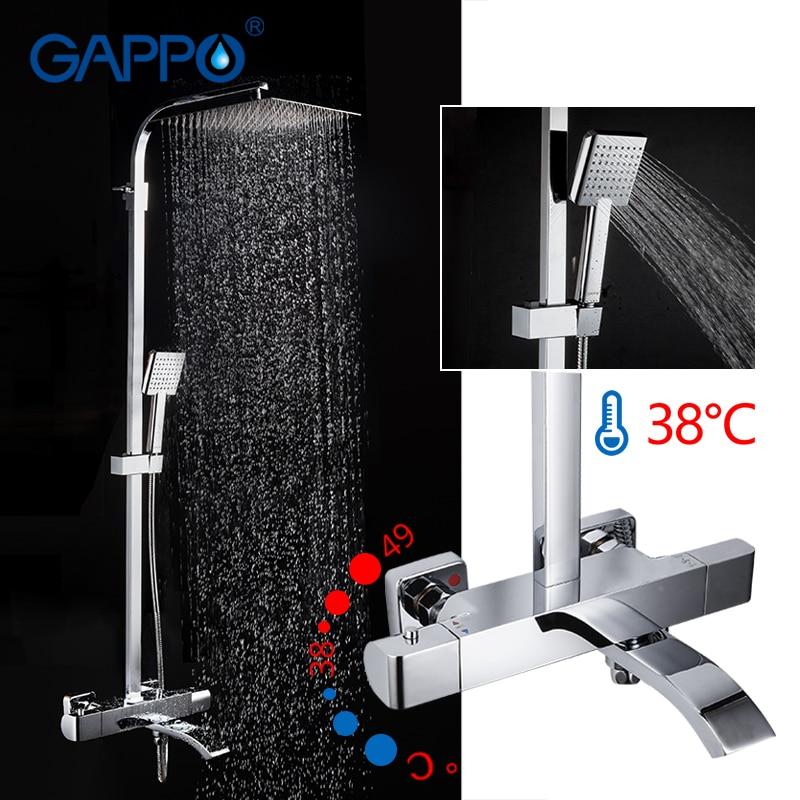GAPPO robinets de douche mitigeur thermostatique robinet de douche de salle de bain mitigeur de baignoire ensemble de douche à effet pluie mural mitigeur